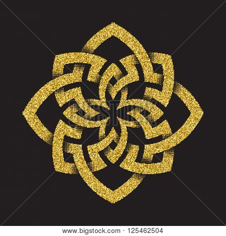 Golden glittering logo template in Celtic knots style on black background. Octagonal symbol. Gold ornament for jewelry design.