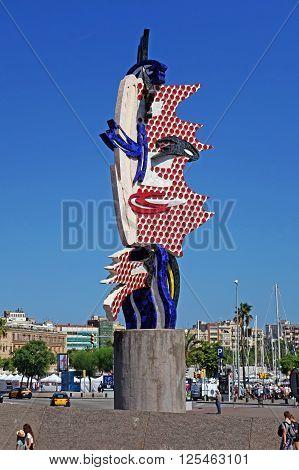 BARCELONA, SPAIN - AUGUST 1, 2015: El Cap de Barcelona (The Head of Barcelona) - a surrealist sculpture created by American Pop artist Roy Lichtenstein for the 1992 Summer in Barcelona, Spain