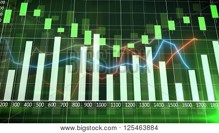 Sales Bar Chart With A Green Background. Abstraction.