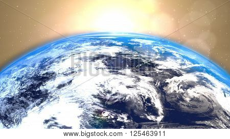 Planet Earth with a spectacular sunrise background. Nasa map.