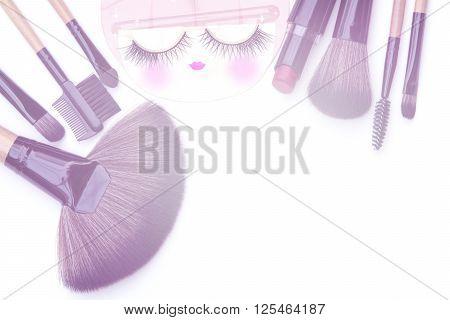 Isolated Beautiful Makeup Brushes ,eyelash Backgrounds