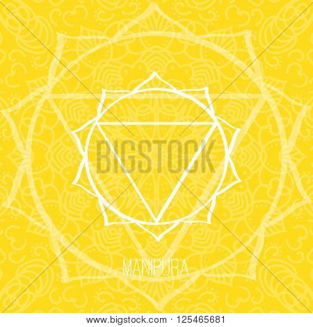 Lines geometric illustration of one of the seven chakras - Manipura on the yellow background the symbol of Hinduism Buddhism. Hand painted mandala texture. For design associated with yoga and India