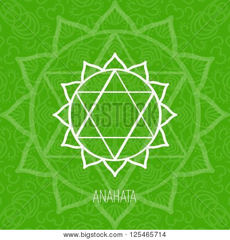 Lines geometric illustration of one of the seven chakras - Anahata on the green background the symbol of Hinduism Buddhism. Hand painted mandala texture. For design associated with yoga and India.