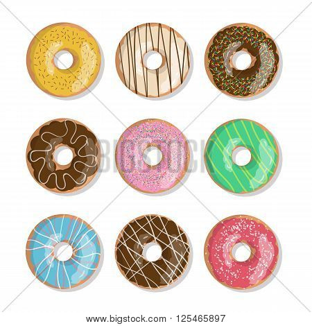 Set of nine bright tasty vector donuts illustration isolated on the white background. Doughnut icon in cartoon style for donuts menu in cafe and shop.