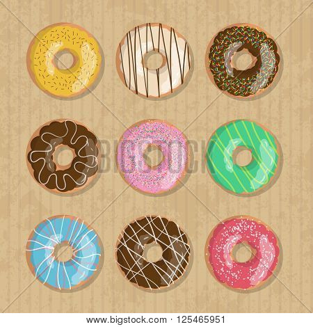 Set of nine bright tasty vector donuts illustration on the cardboard box background. Doughnut icon in cartoon style for donuts menu in cafe and shop.