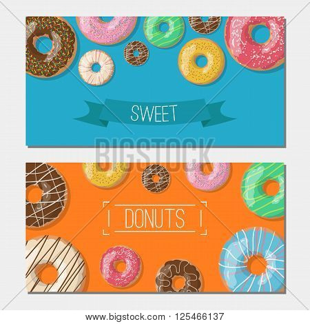 Set of tho bright vector banners with donuts illustration on the orange and blue background. Doughnut banners in cartoon style for donuts menu in cafe and shop.