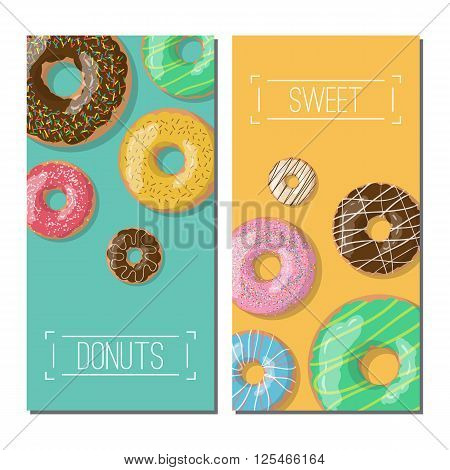 Set of tho bright vector banners with donuts illustration on the green and yellow background. Doughnut banners in cartoon style for donuts menu in cafe and shop.