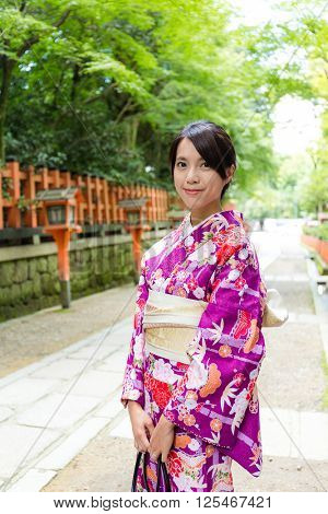 Japanese woman with kimono dressing