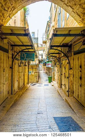 NAZARETH ISRAEL - FEBRUARY 21 2016: The empty tourist market in Sunday during mass on February 21 in Nazareth.