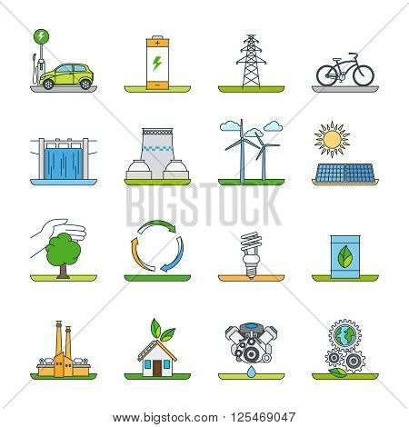 Renewable energy outline icons and green technology thin line icons. Vector illustration