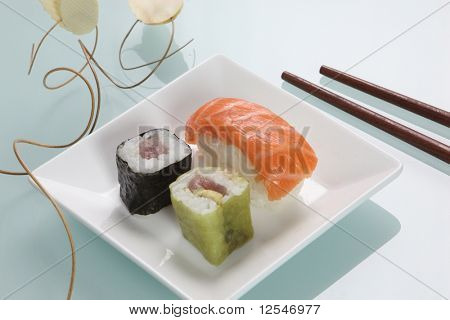 Sushi in a small dish with wooden chopsticks