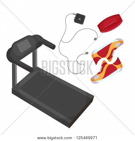 Running shoes, music player, head band and treadmill icon isolated on the white background. Sports equipment illustration set for gym or fitness club flayers.