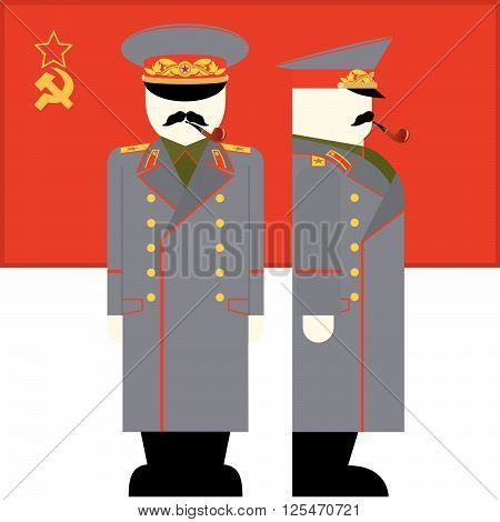 The flag and the Supreme Commander of the armed forces of the USSR. The illustration on a white background.