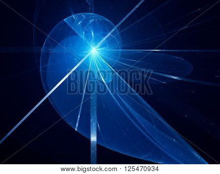 Blue glowing fibonacci spiral fractal computer generated abstract background