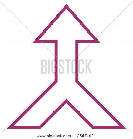 Combine Arrow Up vector icon. Style is outline icon symbol, purple color, white background.