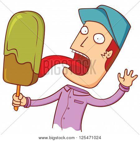 illustration of a man licking big ice cream