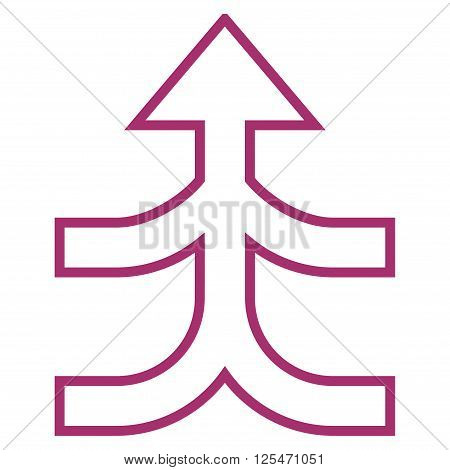Combine Arrow Up vector icon. Style is stroke icon symbol, purple color, white background.