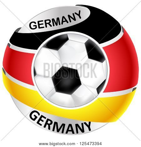 Germany football icon / label, containing a soccer ball and the Germany's flag