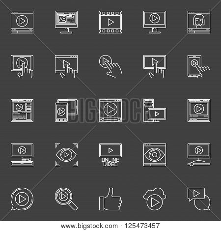 Video icons set - vector linear online video signs or logo elements on dark background. Video marketing or webinar concept symbols