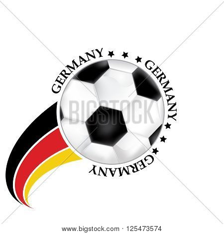 Germany football team sign, containing a soccer ball and the Germany's flag