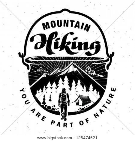 Mountain hiking. Hand crafted lettering on the topic traveling