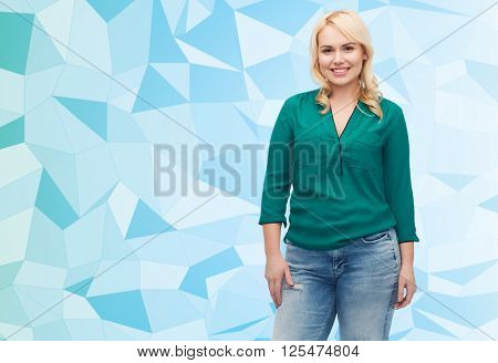 female, gender, portrait, plus size and people concept - smiling young woman in shirt and jeans over blue low poly background