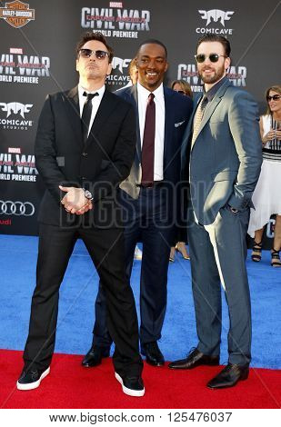 Robert Downey Jr., Anthony Mackie and Chris Evans at the World premiere of 'Captain America: Civil War' held at the Dolby Theatre in Hollywood, USA on April 12, 2016.