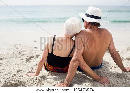 Rear view of senior couple sitting on beach on a sunny day