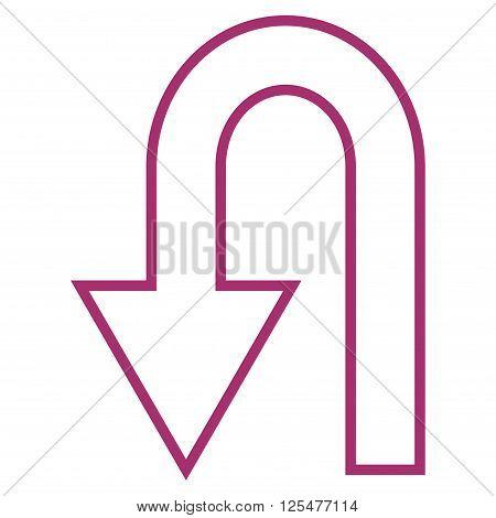 Return Arrow vector icon. Style is stroke icon symbol, purple color, white background.