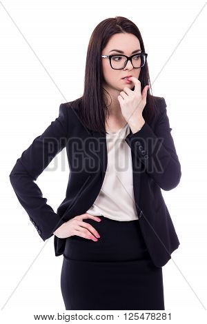 Stressed Young Business Woman Biting Her Finger Isolated On White