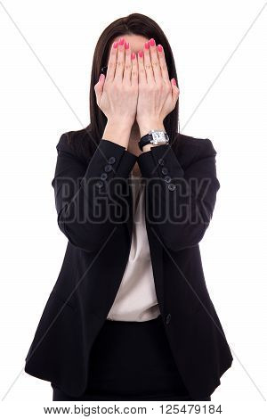 Stressed Young Business Woman Crying And Covering Her Face Isolated On White