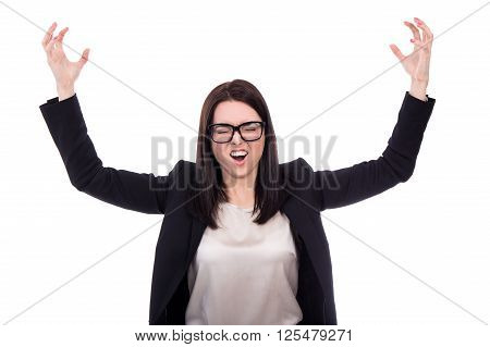 Stressed Business Woman Screaming Isolated On White