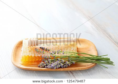 honey comb with lavender flowers - sweet food