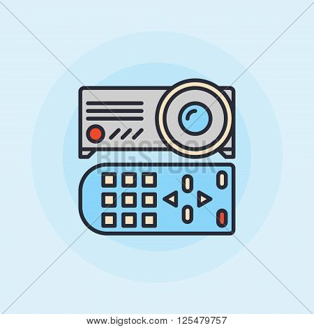 Projector flat icon - vector projector with remote control symbol or logo