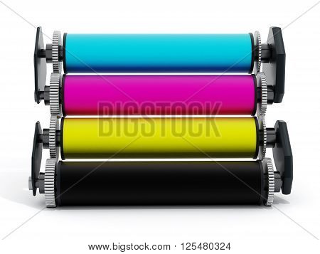 CMYK printer cylinders isolated on white background