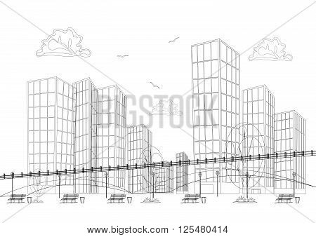 Black and white design big modern city with skyscrapers