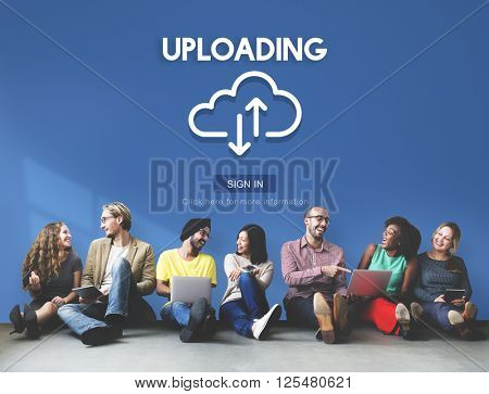 Uploading Upload Data Download Information Concept