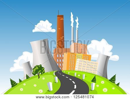 Factory electrical generating plant atomic or nuclear power plant on the hill. Vector illustration