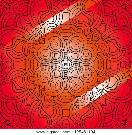Vector abstract red tracery. Can be used as card, invitation, adult coloring book, coloring page.