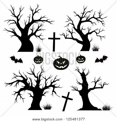 Halloween trees spiders and bats on white background. Vector
