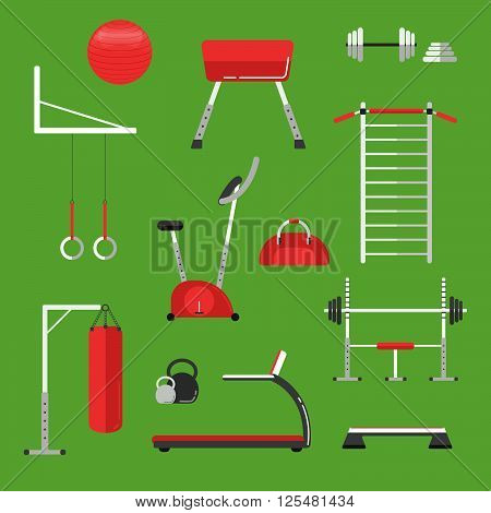 Sport Equipment Flat Icons Isolated. Gym Training, Bodybuilding And Active Lifestyle, Fitness Equipm