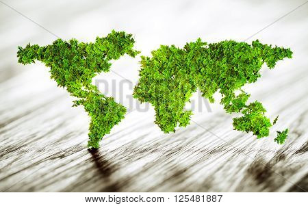 Sustainable world symbol on wooden desk - 3d rendering.