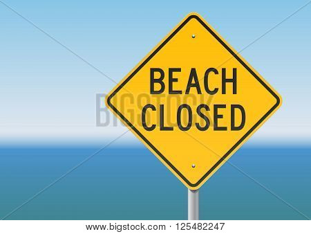 Vector illustration of the beach closed yellow panel