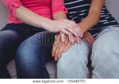 Mid section of a woman comforting her friend at home