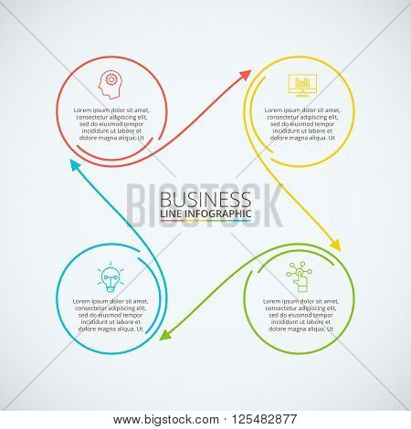 Thin line flat circle infographic. Template for diagram, graph, presentation and chart. Business concept with 4 options, parts, steps or processes. Data visualization.