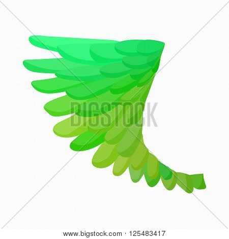 Green bird wing icon in cartoon style isolated on white background