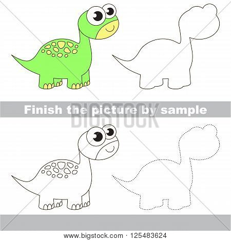 Drawing worksheet for children. Finish the picture and draw the cute Brontosaurus