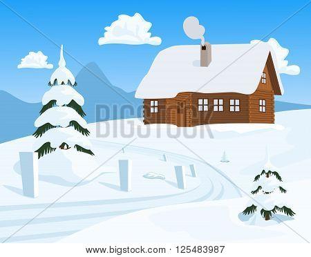Idyllic winter landscape. Chalet in winter. Vector illustration