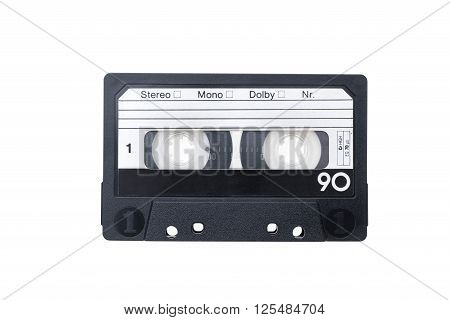 An isolated blakck audiocassette on white background