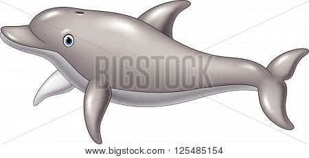Vector illustration of Cute cartoon dolphin isolated on white background